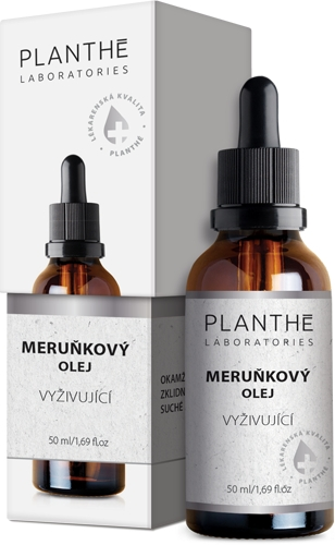 Meruňkový olej na obličej, dekolt a krk značky PLANTHÉ Laboratories – český přírodní kosmetika, olej na pleť lékárenské kvality