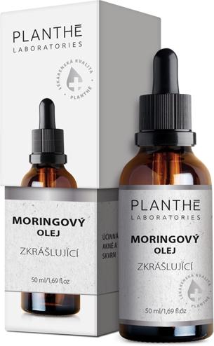 PLANTHÉ Moringový olej na obličej – lahvička, účinky oleje na obalu